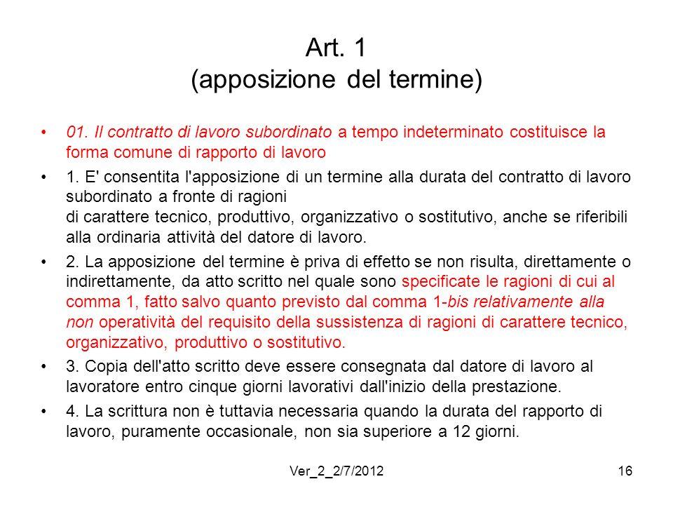 Art. 1 (apposizione del termine)