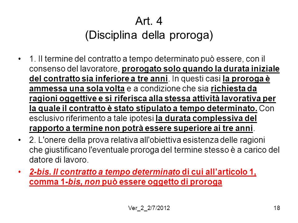 Art. 4 (Disciplina della proroga)