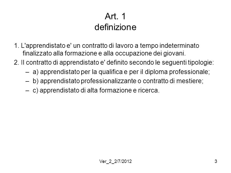 Art. 1 definizione 1. L apprendistato e un contratto di lavoro a tempo indeterminato finalizzato alla formazione e alla occupazione dei giovani.