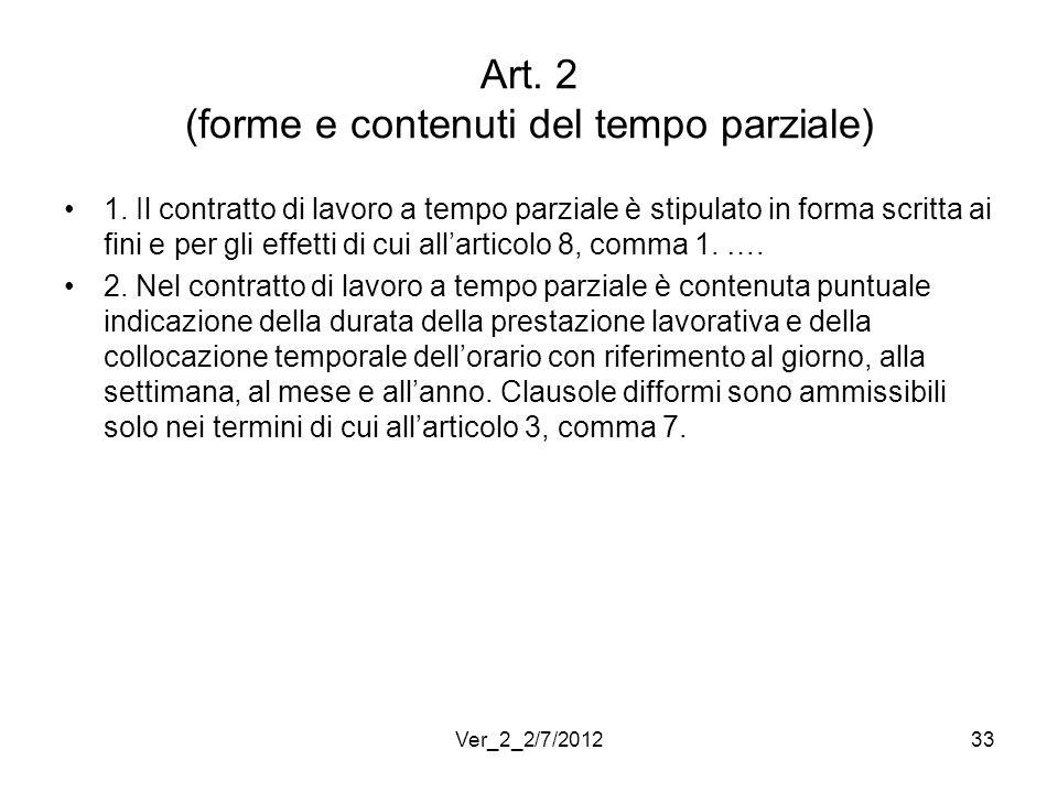 Art. 2 (forme e contenuti del tempo parziale)