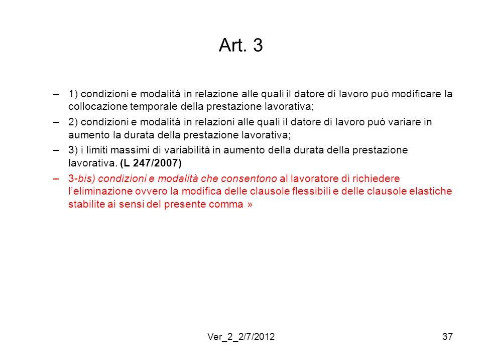 Art. 3 1) condizioni e modalità in relazione alle quali il datore di lavoro può modificare la collocazione temporale della prestazione lavorativa;
