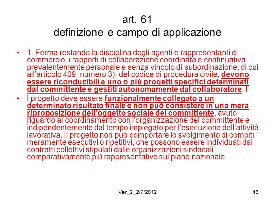 art. 61 definizione e campo di applicazione