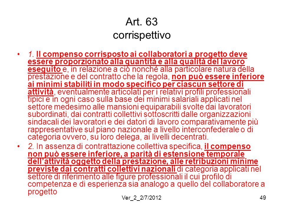 Art. 63 corrispettivo