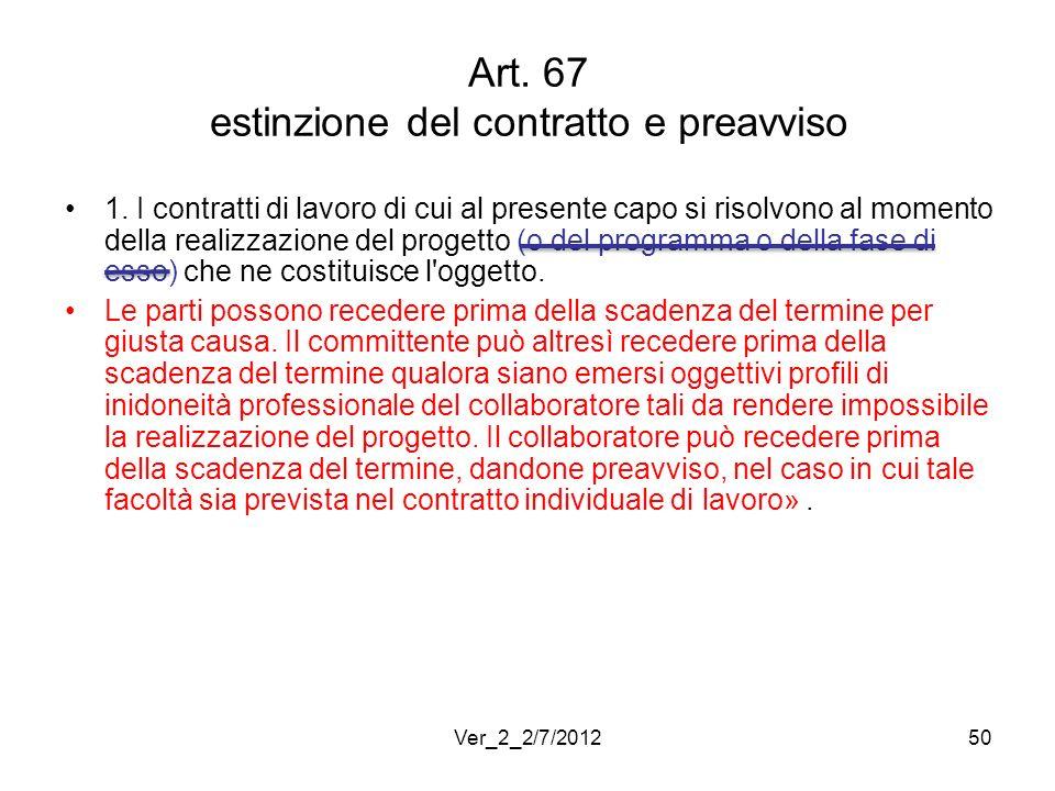 Art. 67 estinzione del contratto e preavviso