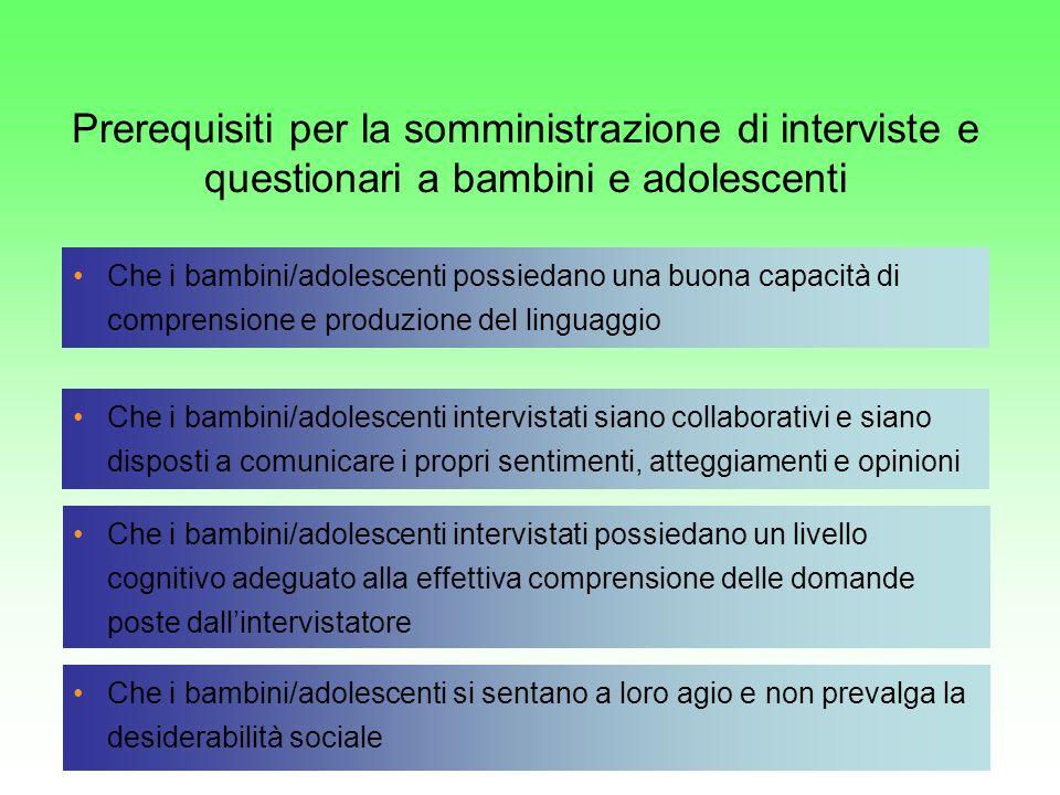 Prerequisiti per la somministrazione di interviste e questionari a bambini e adolescenti