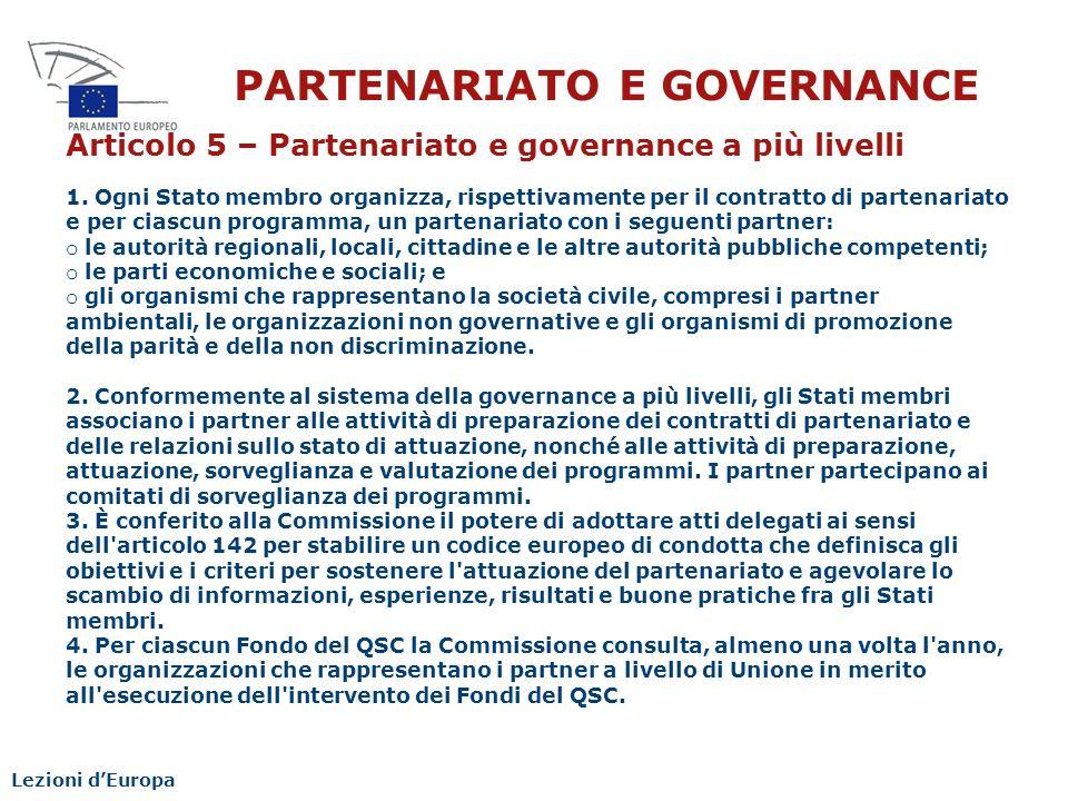 PARTENARIATO E GOVERNANCE
