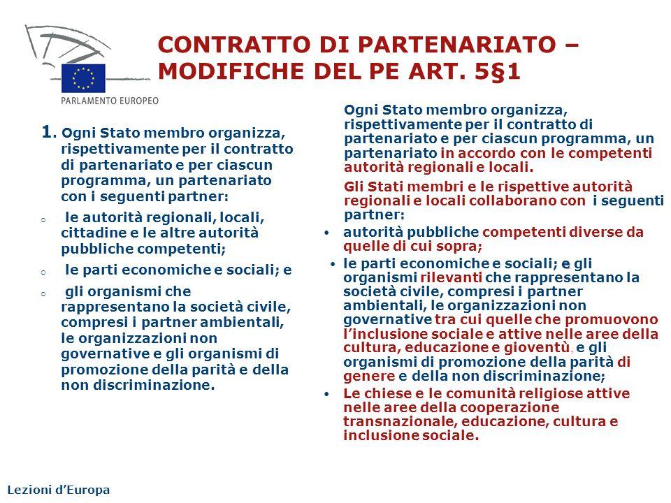 CONTRATTO DI PARTENARIATO – MODIFICHE DEL PE ART. 5§1