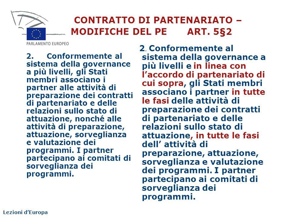 CONTRATTO DI PARTENARIATO – MODIFICHE DEL PE ART. 5§2
