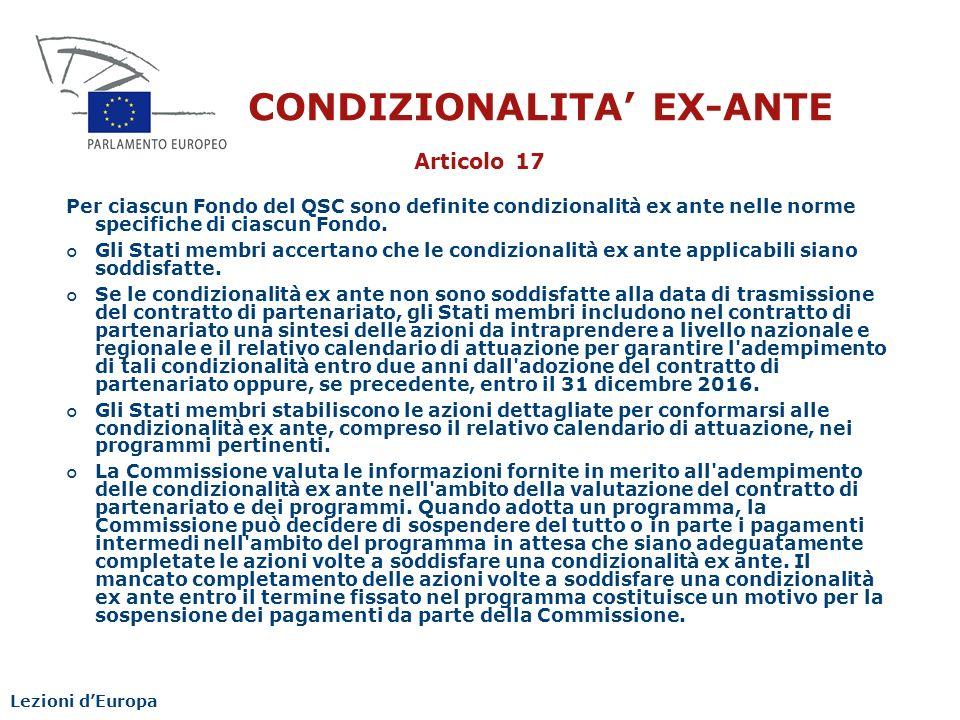 CONDIZIONALITA' EX-ANTE
