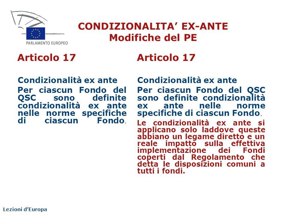 CONDIZIONALITA' EX-ANTE Modifiche del PE