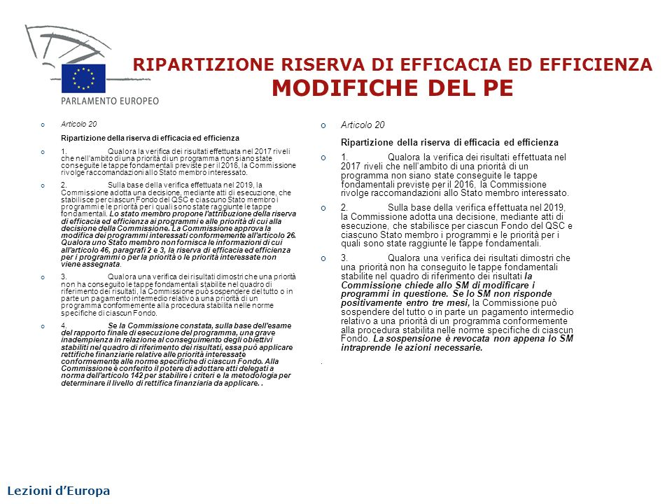 RIPARTIZIONE RISERVA DI EFFICACIA ED EFFICIENZA MODIFICHE DEL PE