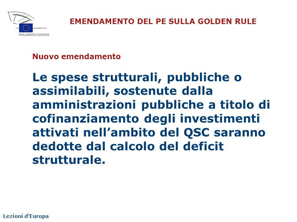 EMENDAMENTO DEL PE SULLA GOLDEN RULE