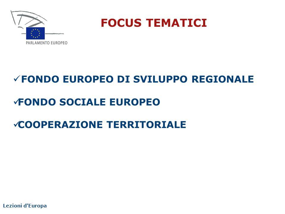 FOCUS TEMATICI FONDO EUROPEO DI SVILUPPO REGIONALE
