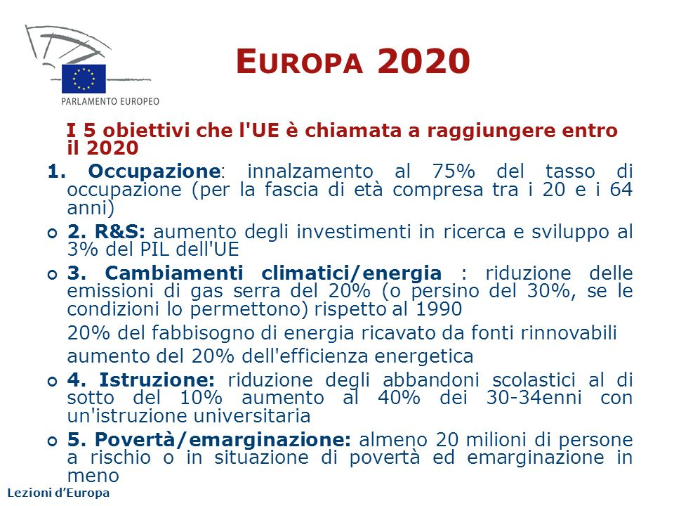 Europa 2020 I 5 obiettivi che l UE è chiamata a raggiungere entro il 2020.