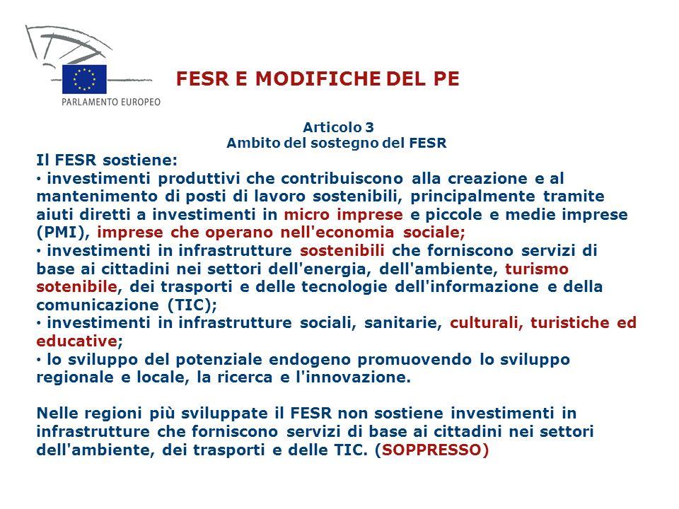 Articolo 3 Ambito del sostegno del FESR
