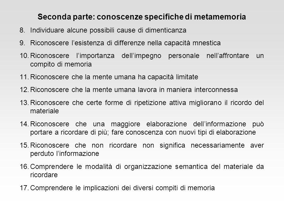 Seconda parte: conoscenze specifiche di metamemoria
