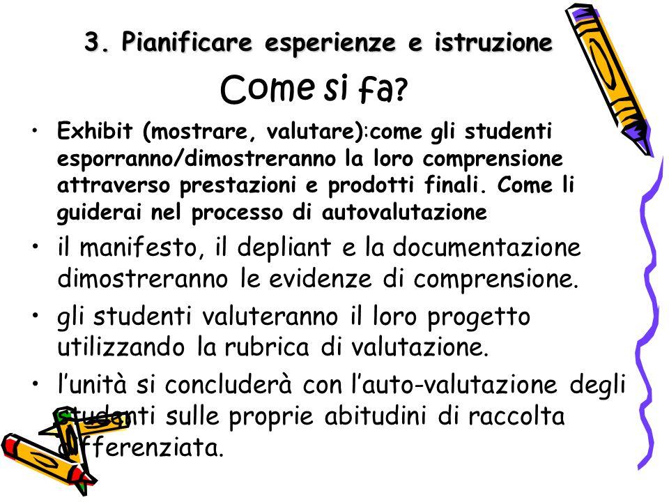 3. Pianificare esperienze e istruzione