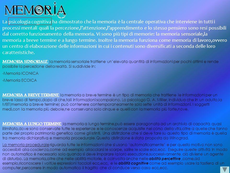La psicologia cognitiva ha dimostrato che la memoria è la centrale operativa che interviene in tutti i processi mentali quali la percezione,l'attenzione,l'apprendimento e lo stesso pensiero sono resi possibili dal corretto funzionamento della memoria. Vi sono più tipi di memorie: la memoria sensoriale,la memoria a breve termine e a lungo termine. Inoltre la memoria funziona come memoria di lavoro,ovvero un centro di elaborazione delle informazioni in cui i contenuti sono diversificati a seconda delle loro caratteristiche.