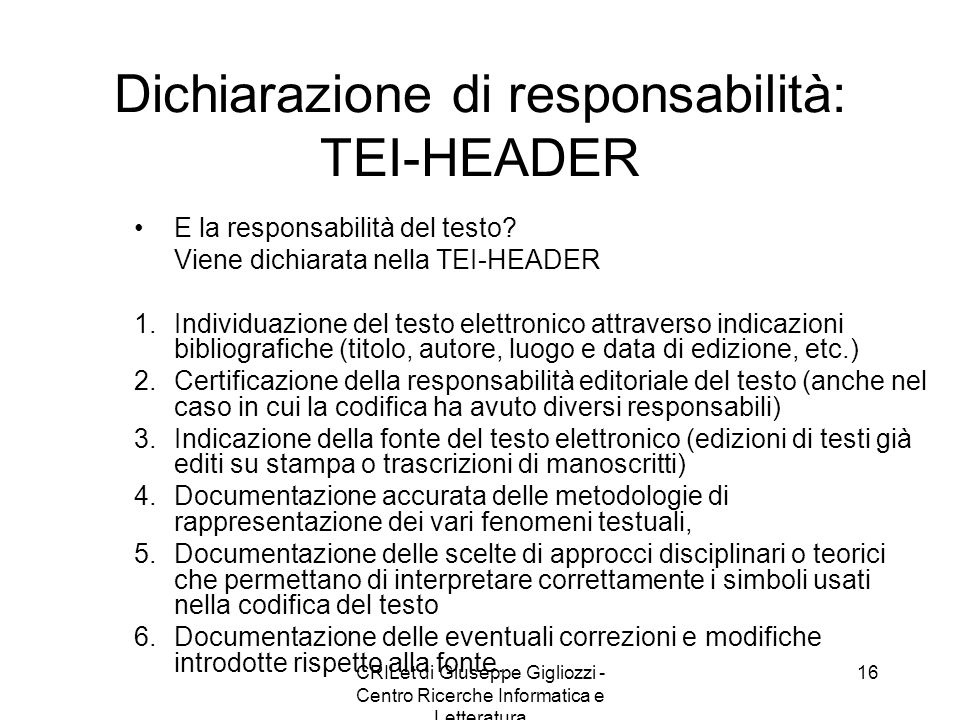 Dichiarazione di responsabilità: TEI-HEADER