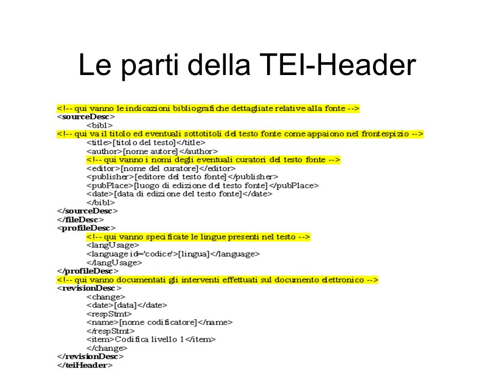 Le parti della TEI-Header