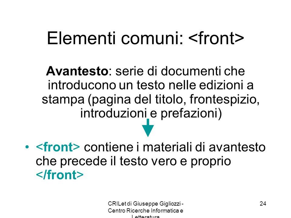 Elementi comuni: <front>
