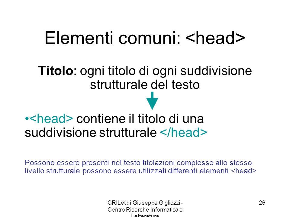 Elementi comuni: <head>