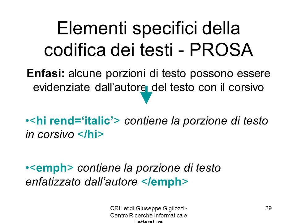Elementi specifici della codifica dei testi - PROSA