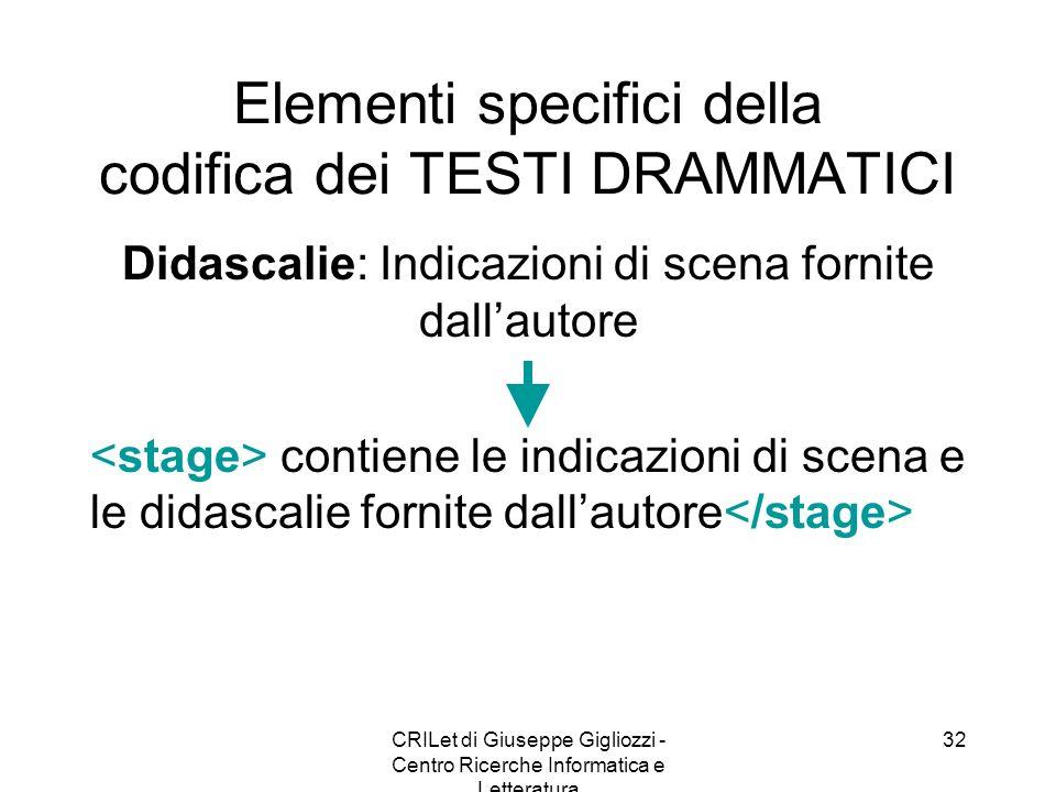 Elementi specifici della codifica dei TESTI DRAMMATICI