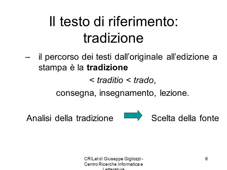 Il testo di riferimento: tradizione