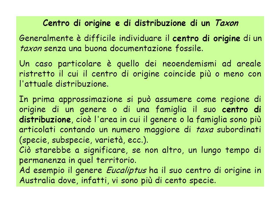 Centro di origine e di distribuzione di un Taxon