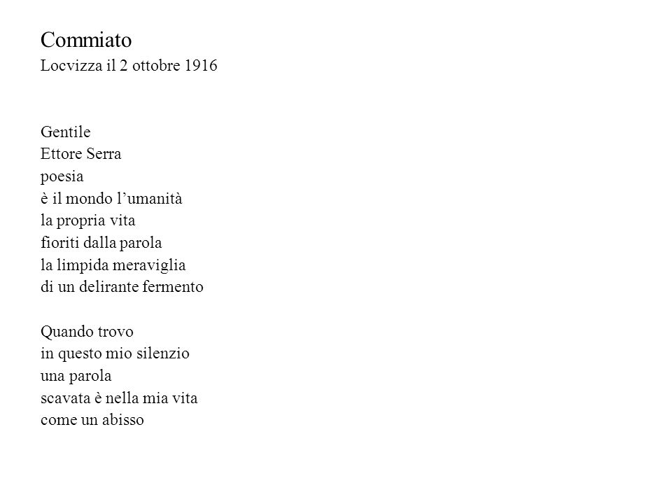 Commiato Locvizza il 2 ottobre 1916 Gentile Ettore Serra poesia
