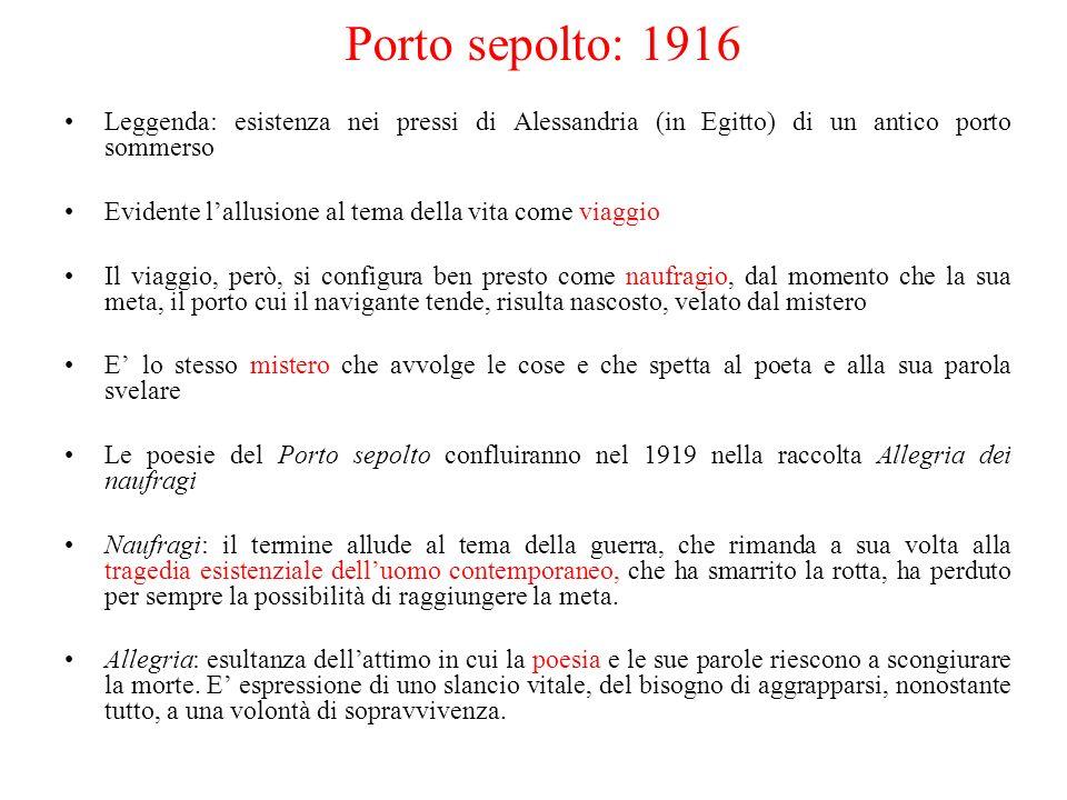 Porto sepolto: 1916 Leggenda: esistenza nei pressi di Alessandria (in Egitto) di un antico porto sommerso.