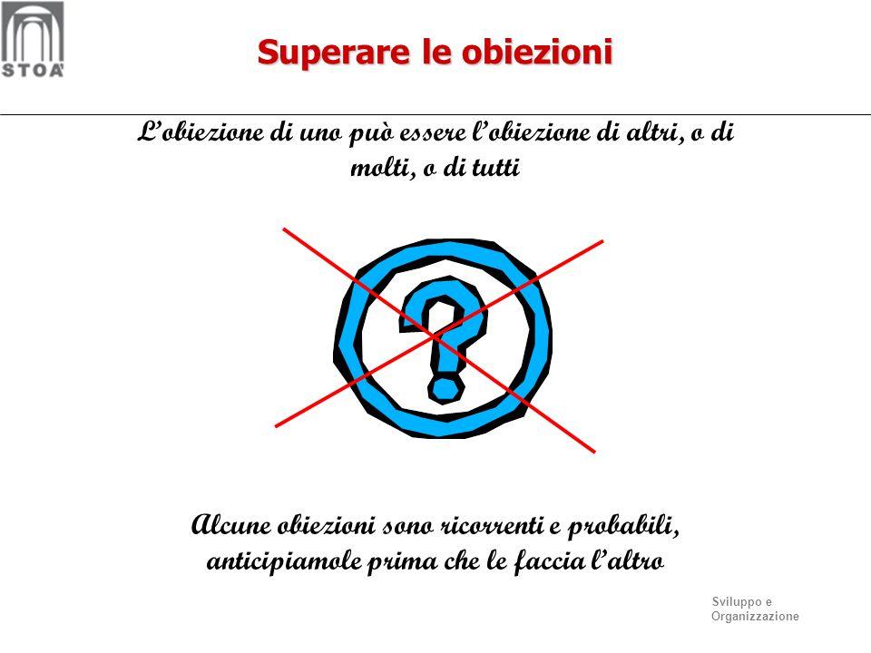 Superare le obiezioni L'obiezione di uno può essere l'obiezione di altri, o di molti, o di tutti.