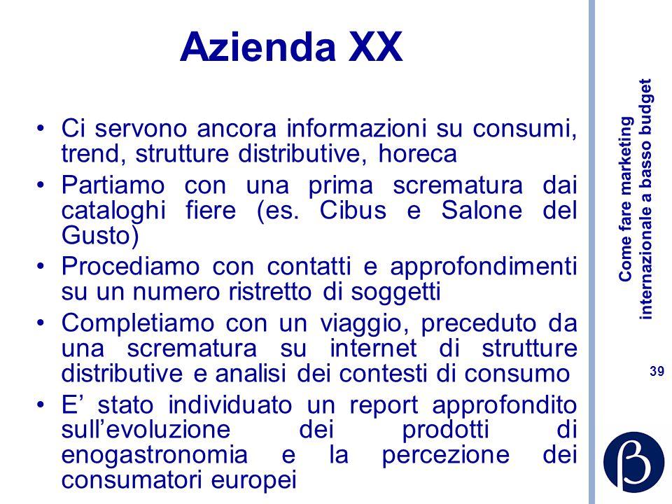Azienda XXCi servono ancora informazioni su consumi, trend, strutture distributive, horeca.