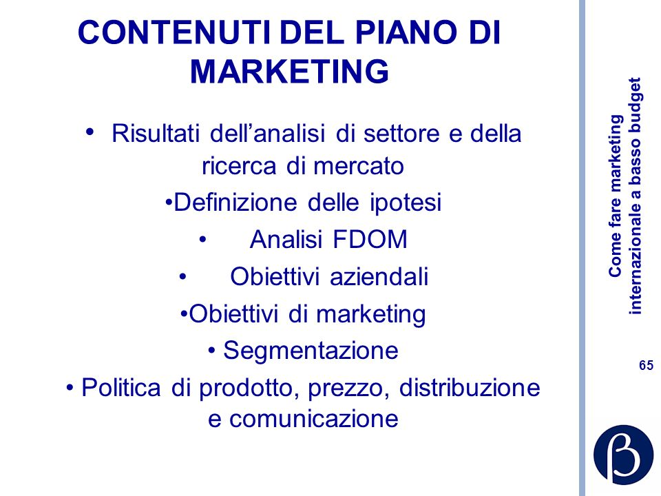 CONTENUTI DEL PIANO DI MARKETING