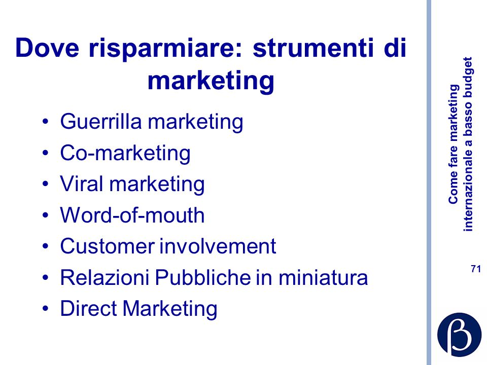 Dove risparmiare: strumenti di marketing