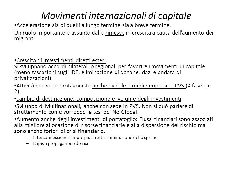 Movimenti internazionali di capitale