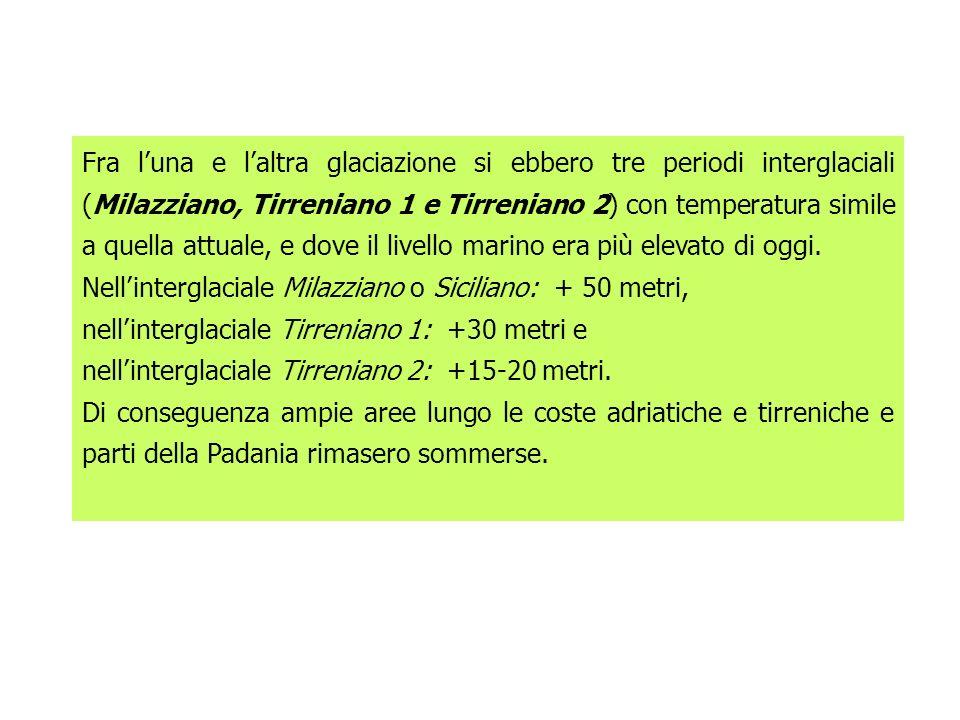 Fra l'una e l'altra glaciazione si ebbero tre periodi interglaciali (Milazziano, Tirreniano 1 e Tirreniano 2) con temperatura simile a quella attuale, e dove il livello marino era più elevato di oggi.