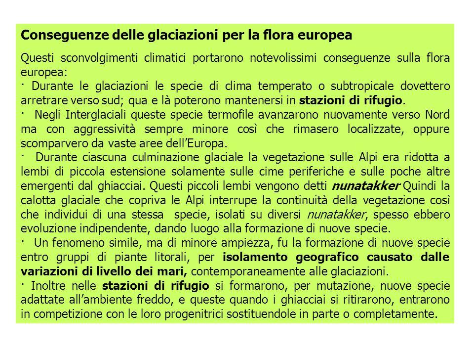 Conseguenze delle glaciazioni per la flora europea