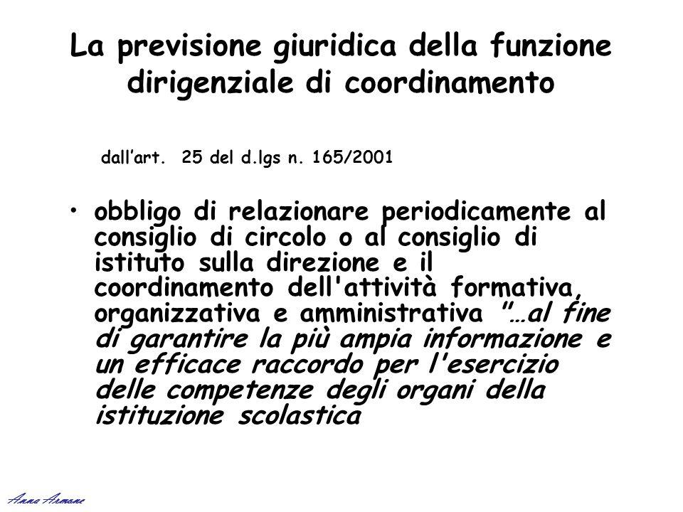 La previsione giuridica della funzione dirigenziale di coordinamento