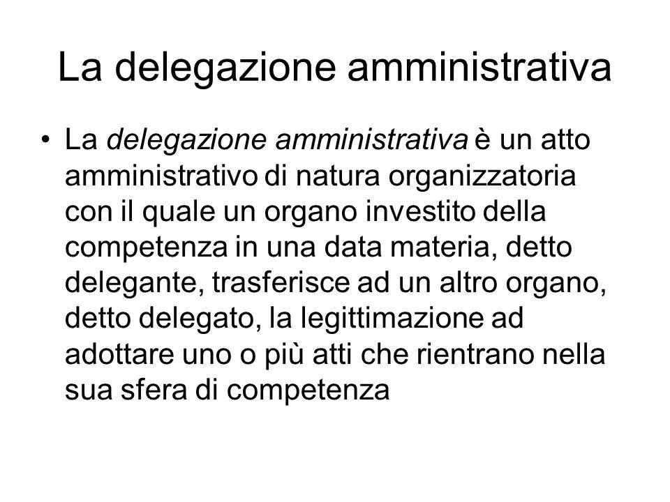 La delegazione amministrativa