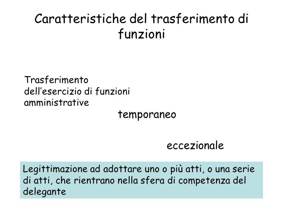 Caratteristiche del trasferimento di funzioni