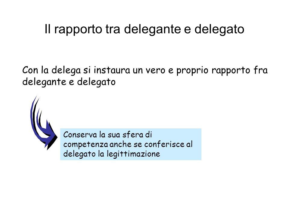 Il rapporto tra delegante e delegato