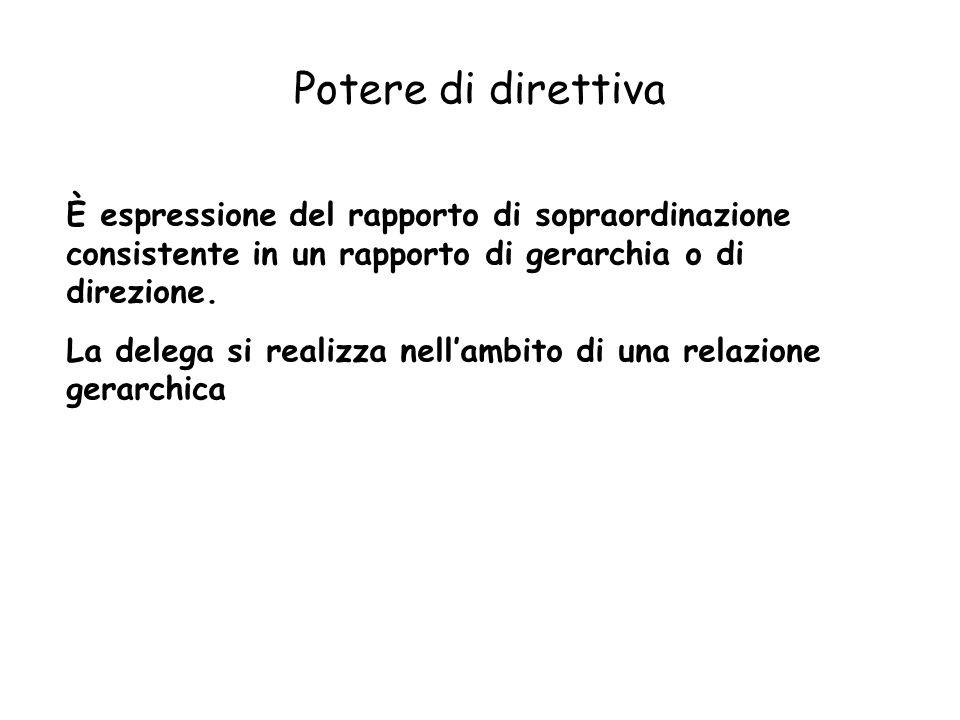 Potere di direttiva È espressione del rapporto di sopraordinazione consistente in un rapporto di gerarchia o di direzione.