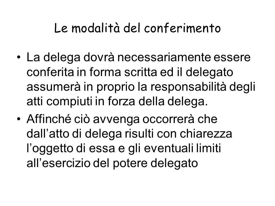 Le modalità del conferimento