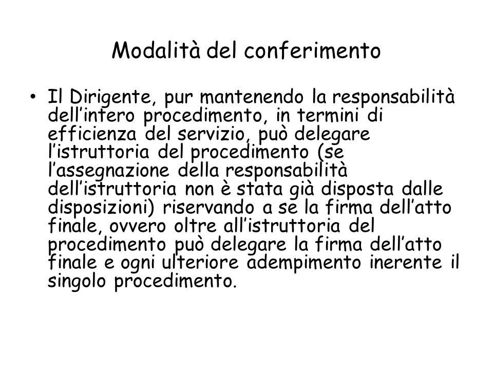 Modalità del conferimento