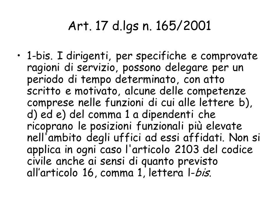 Art. 17 d.lgs n. 165/2001