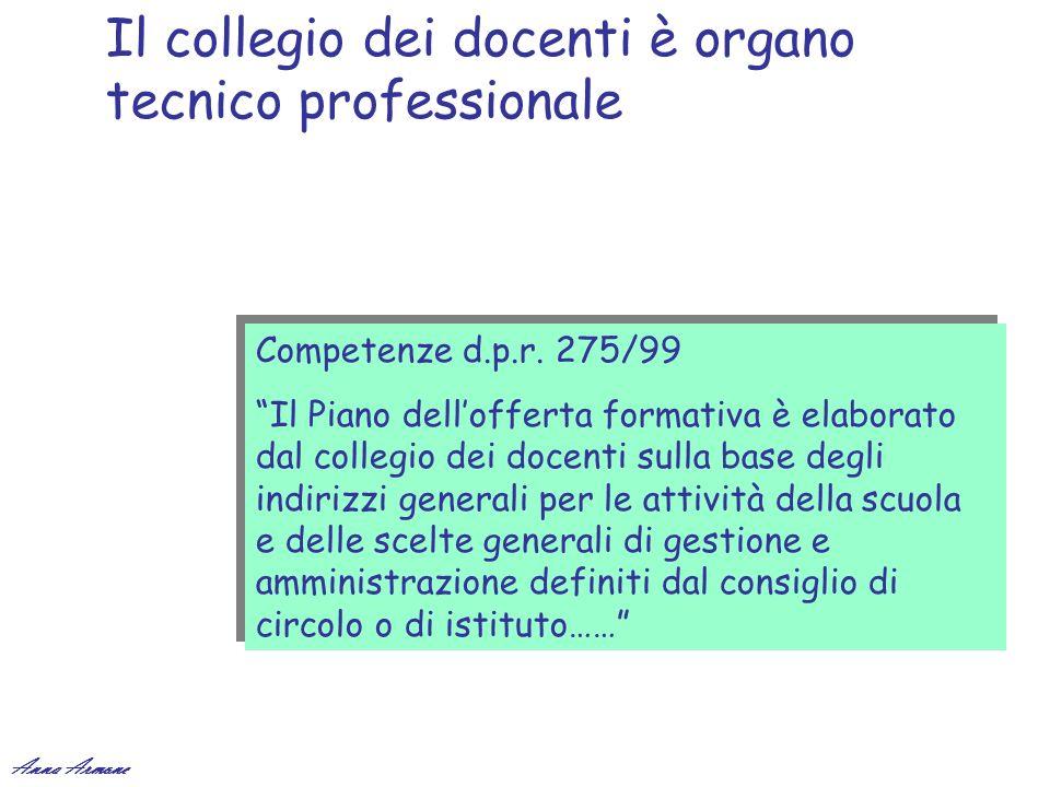 Il collegio dei docenti è organo tecnico professionale