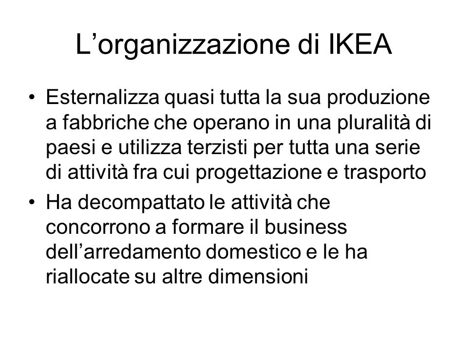 L'organizzazione di IKEA