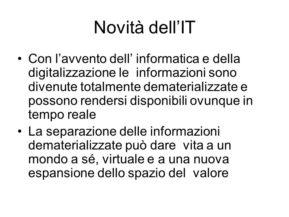 Novità dell'IT
